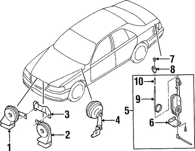 1998 1999 Infiniti Q45 Alarm Horn 25605 6p101