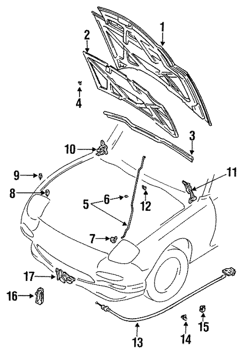 Genuine Oem Hood Components Parts For 1994 Mazda Rx 7 R2