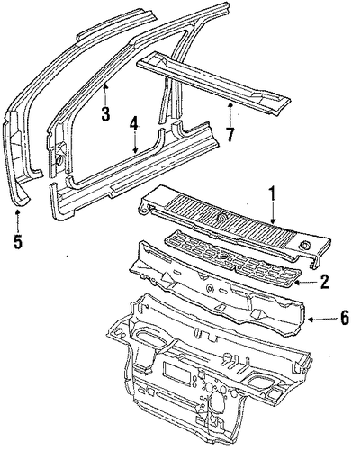 cowl parts for 1985 oldsmobile firenza