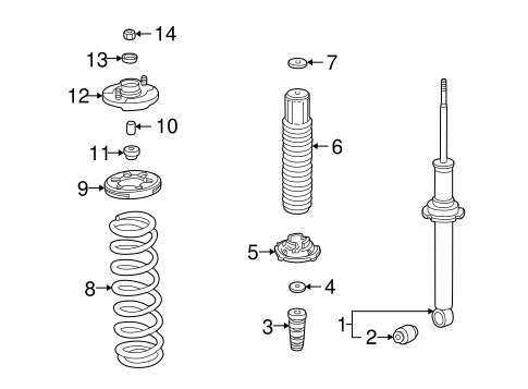 Rubber, Rear Shock Absorber Mounting (Showa)