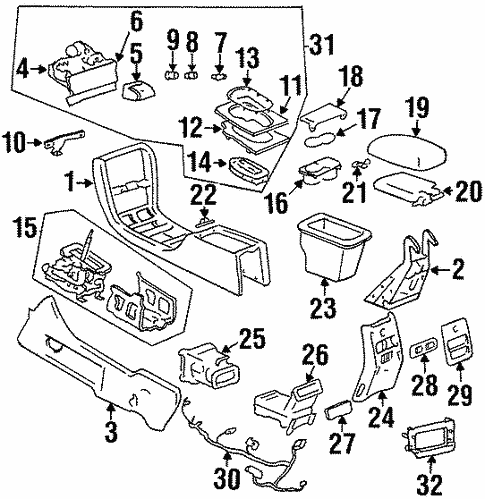 Oem 2001 Cadillac Eldorado Center Console Parts