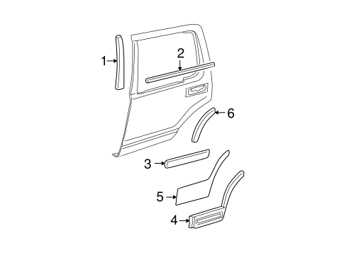 Exterior Trim Rear Door For 2003 Ford Explorer Eastgate Ford Parts Ca