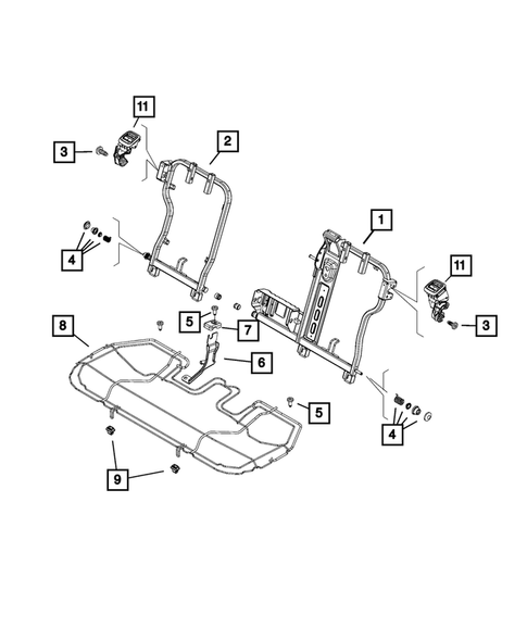 Rear Seats - Second Row - Adjusters, Recliners, Shields and Risers for 2015 Jeep Renegade #1