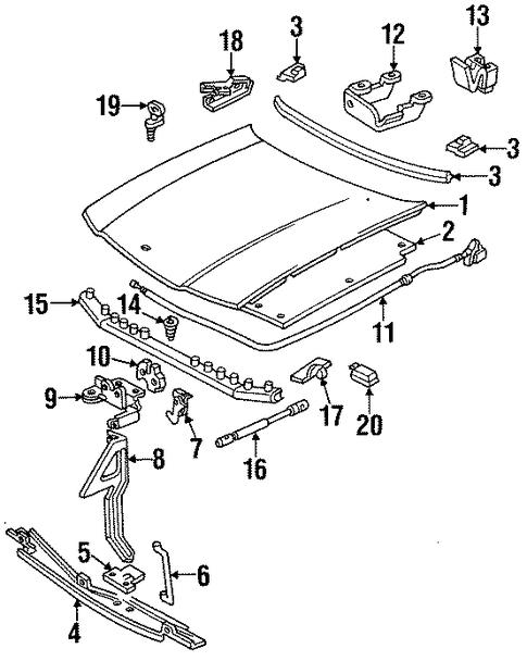 hood  u0026 components parts for 1996 chevrolet impala