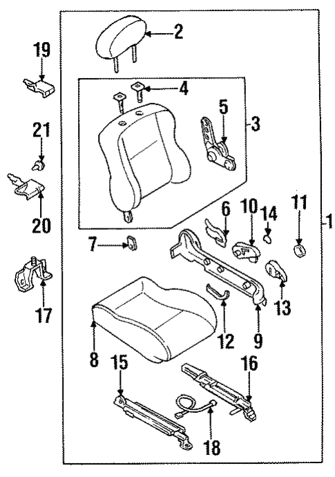 Seat Components for 1997 Mazda Protege #1