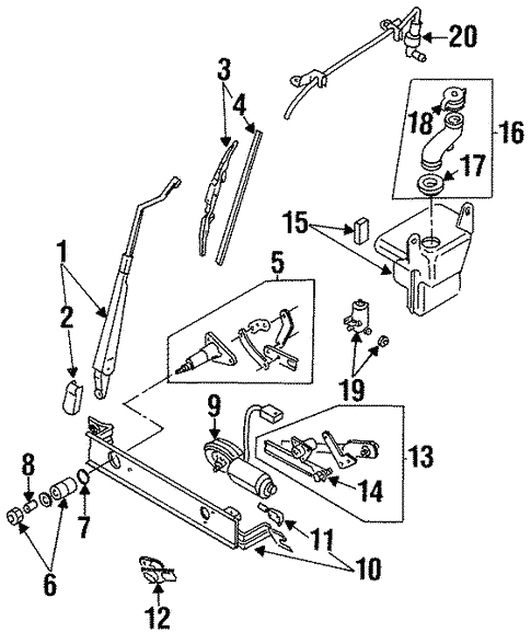 Wiper Washer Components For 1996 Isuzu Rodeo