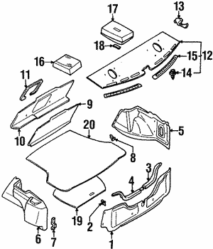 Rear Panel Trim Clip (S14) - Nissan (01553-08421)