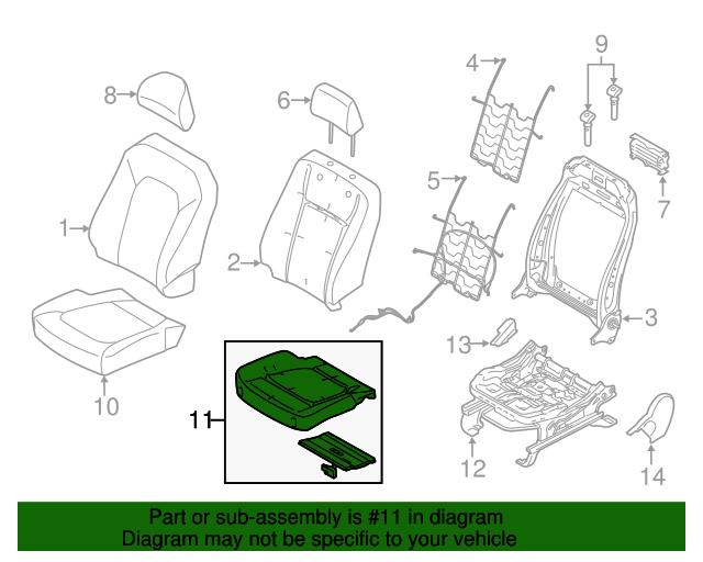 Driver Side Seat Cushion Pad Genuine Ford OEM NEW FL3Z15632A23A