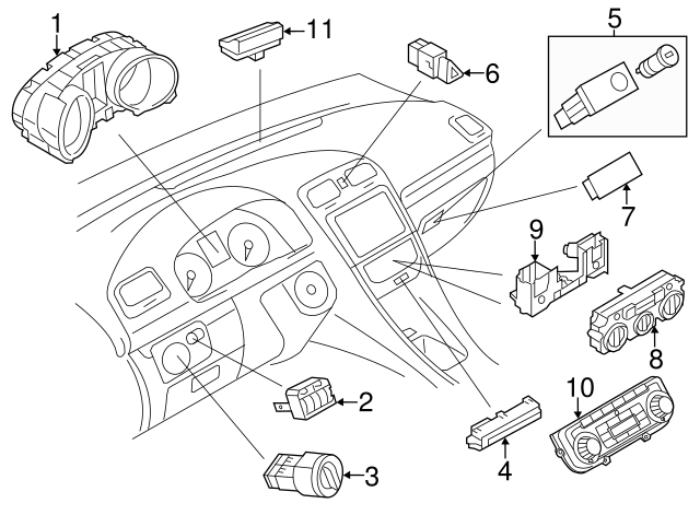 2011 2018 Volkswagen Heater Control Mount Panel 5c1 819 045