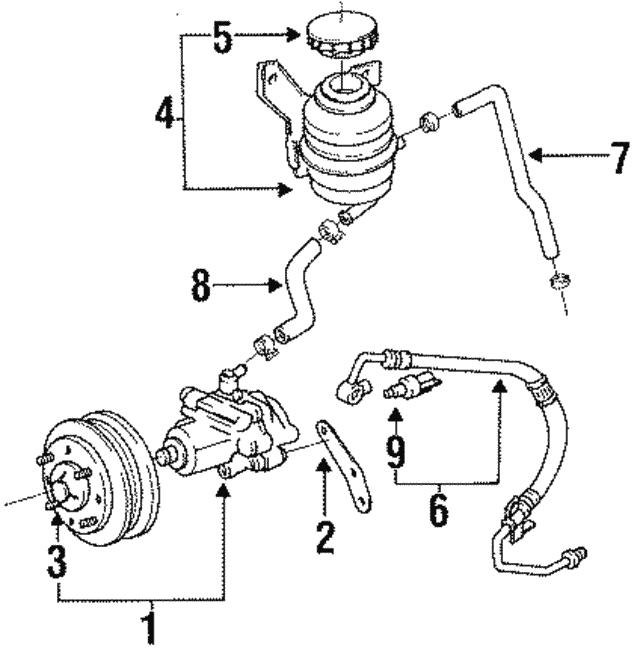 1996 1997 toyota previa power steering pump 44310 28170 Power Steering Line Diagram power steering pump toyota 44310 28170