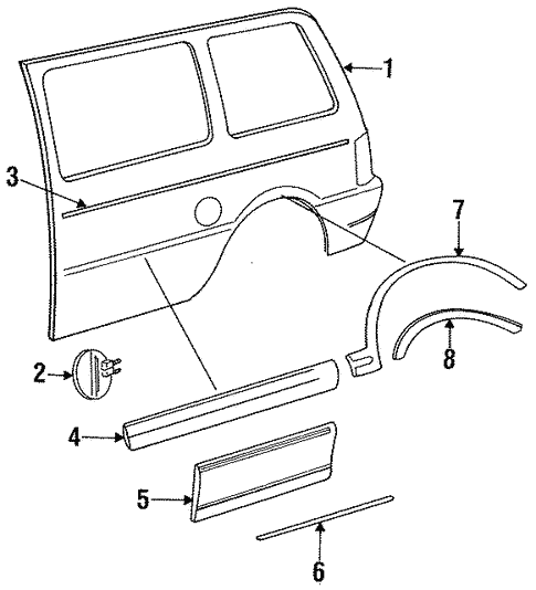 Exterior Trim - Side Panel for 1993 Chrysler Town & Country #0