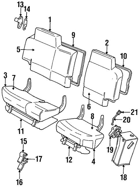 Rear Seat Components For 1997 Land Rover Discovery