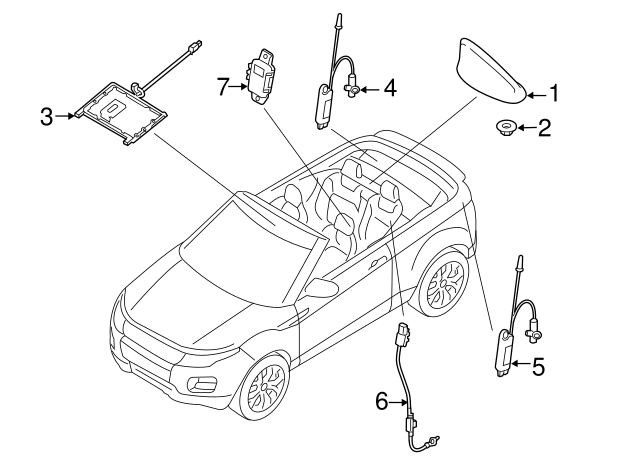 2017 2018 Land Rover Range Rover Evoque Antenna Assembly Lr079308