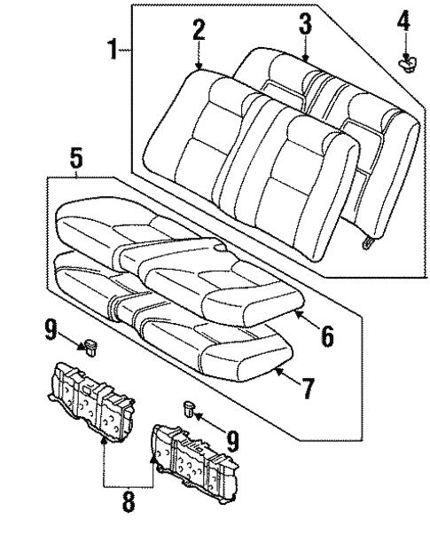Rear Seat Components For 2000 Lexus Sc300
