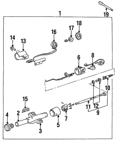diagram 02 cavalier: oem 1989 chevrolet cavalier steering column  assembly parts