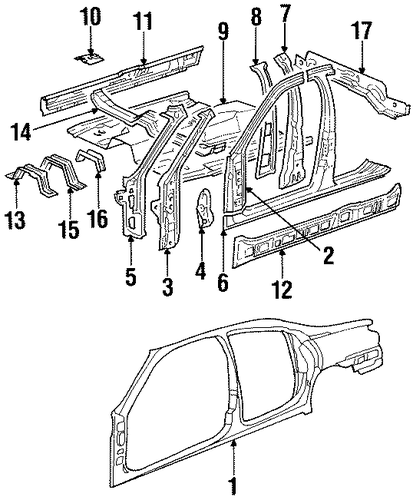 Body/Center Pillar & Rocker for 1997 Ford Contour #1