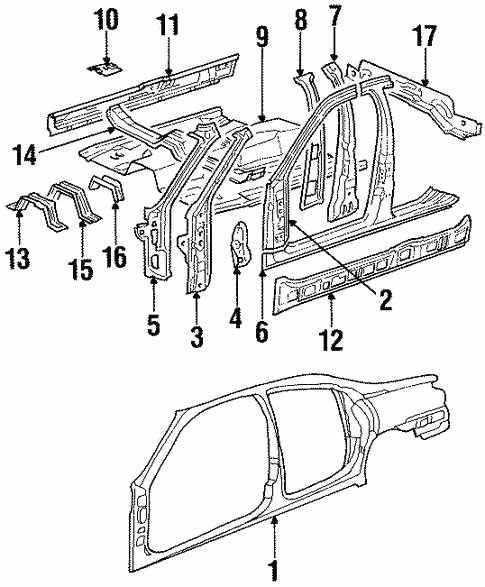 Body/Floor & Rails for 1997 Ford Contour #1