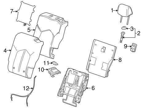 rear seat components parts for 2012 cadillac srx