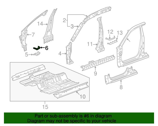 Genuine Honda 63530-TP6-A00ZZ Pillar Stiffener