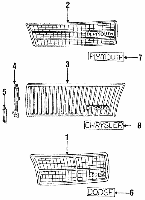 Grille & Components for 1993 Chrysler Town & Country #0