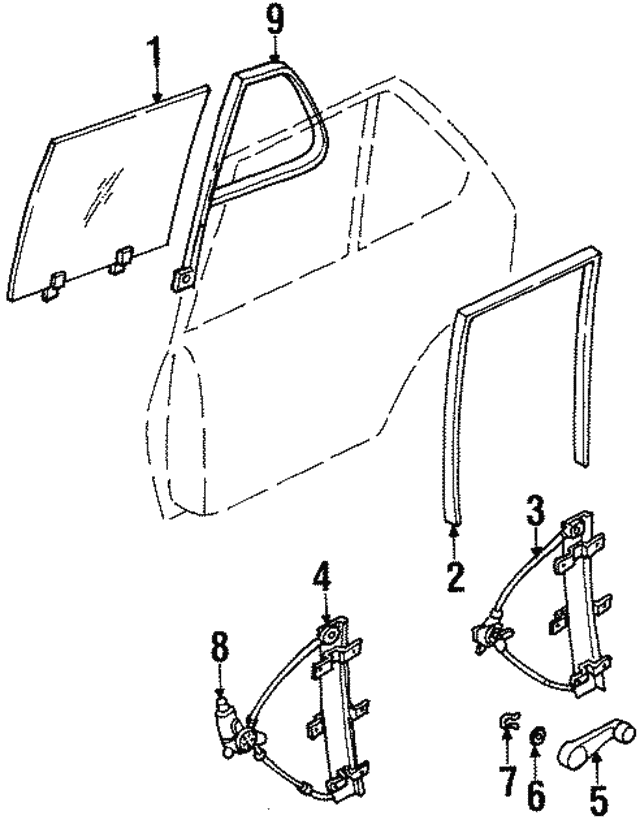 Handle, Rear Window Regulator Door