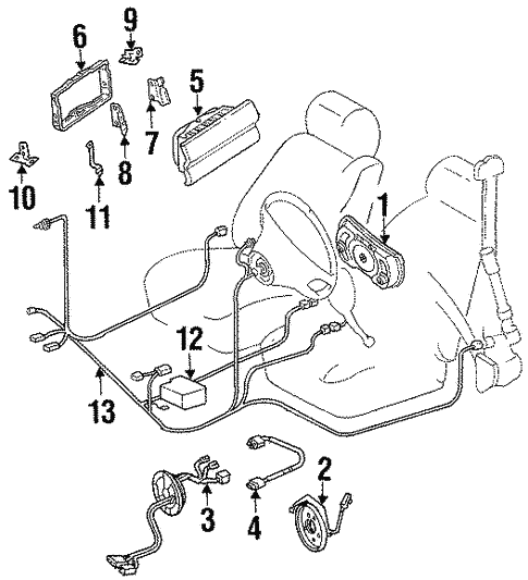 Air Bag Components for 1995 Mercedes-Benz E 320 #1