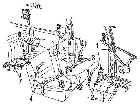 Oem 1997 Chevrolet Suburban K2500 Seat Belt Parts