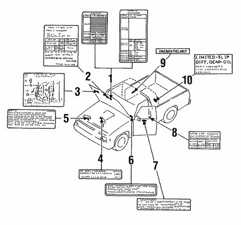 Genuine Oem Labels Parts For 1989 Mazda B2200 Base