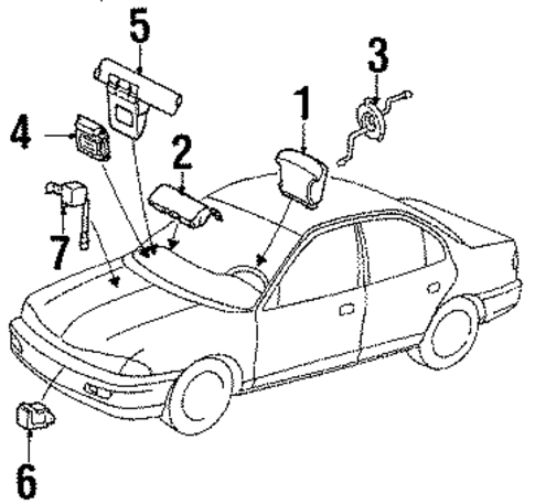 Electrical/Air Bag Components for 1997 Ford Contour #1