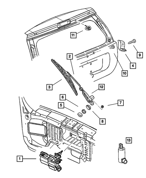 Rear Wiper and Washer System for 2003 Jeep Grand Cherokee #0