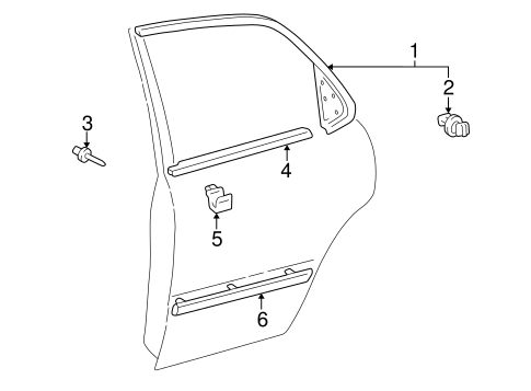 BODY/EXTERIOR TRIM - REAR DOOR for 1997 Toyota Camry #1