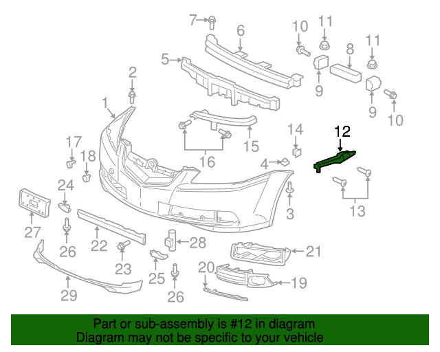 Genuine Acura Spacer L Front Bumper Side 71198-SEP-A00