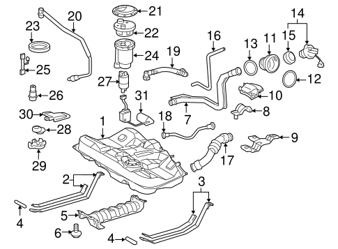 Fuel System Components for 2011 Toyota Avalon #0