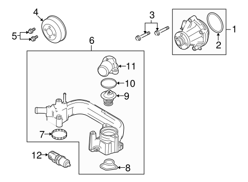 c4 5 engine asm 6 6l v8 diesel thermostat housing