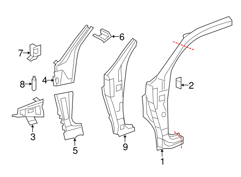 BODY/HINGE PILLAR for 2016 Toyota Tundra #1