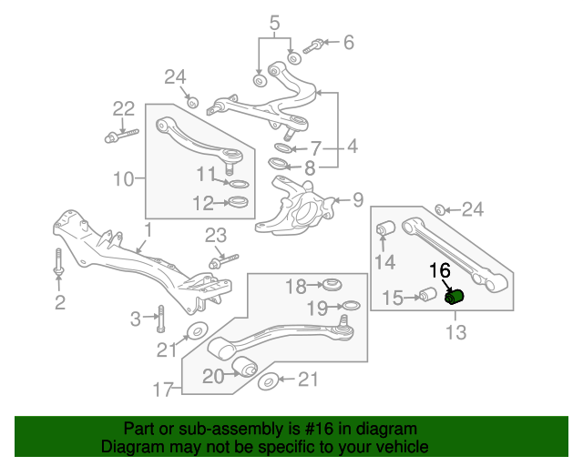 rear lower control arm bushing - mitsubishi (4113a063)