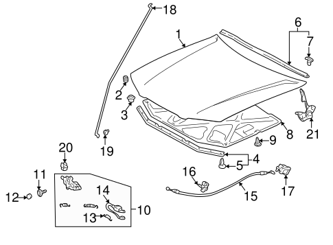 BODY/HOOD & COMPONENTS for 1997 Toyota Camry #1