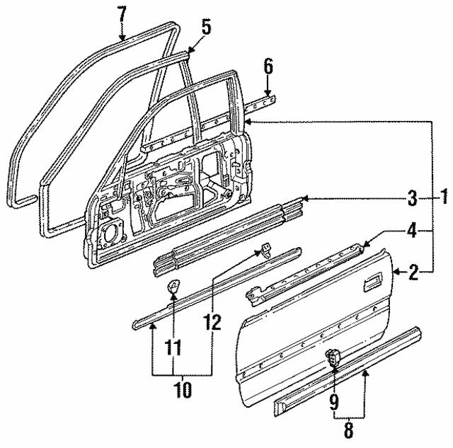 1990 1991 Honda Accord Coupe Protector R Front Door 75302 Sm2 A01