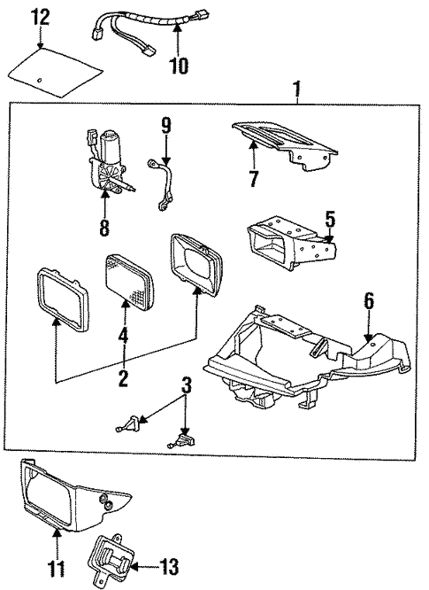 Headlamp Components for 1992 Saturn SC #0