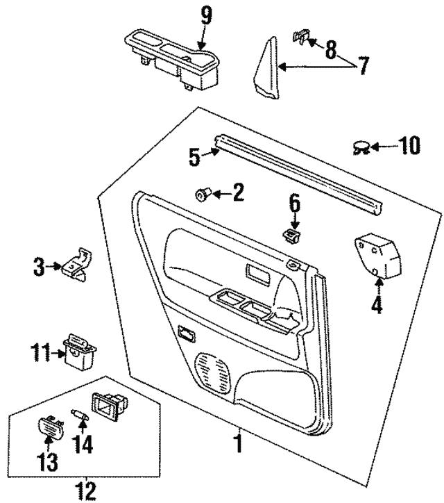 1995 1997 Honda Odyssey 5 Door Pocket R Rear Door Pull G38l Jade