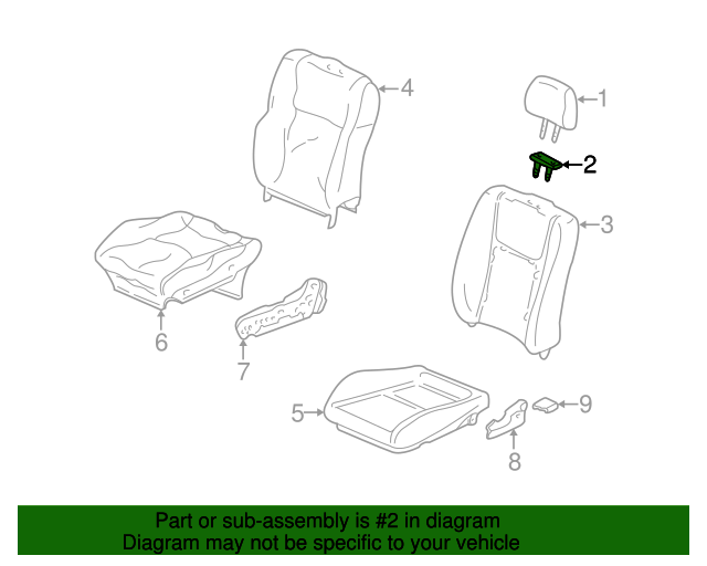 Guide, Headrest *NH178L* (Excel Charcoal)