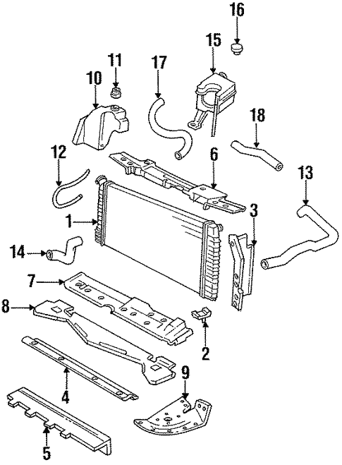 Radiator Components For 1994 Cadillac Deville Gm Parts Online