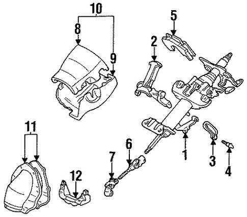 STEERING/STEERING COLUMN ASSEMBLY for 1996 Toyota Corolla #2