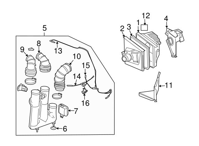 03 cadillac cts engine diagram vacuum hose gm  25736892  gmpartsdirect com  vacuum hose gm  25736892