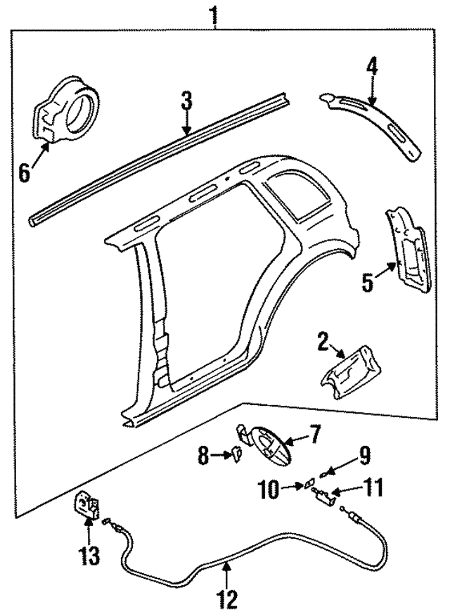 1995 2002 Kia Sportage Opener Assembly 0k018 56890a