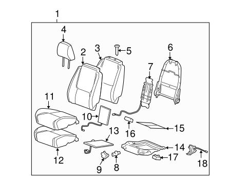 oem 2008 chevrolet equinox front seat components parts