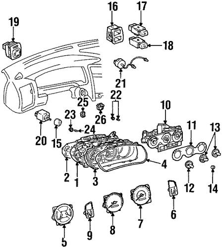 oem 1998 chevrolet prizm cluster  u0026 switches parts