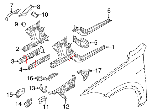 Structural Components Rails For 2016 Bmw X1
