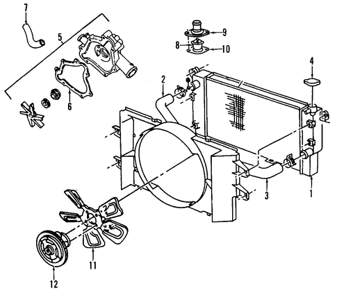 Dodge 3 9 Engine Diagram Exploded besides 7c4n8 Hi Guys 2000 Durango 4wd 5 9l furthermore Cooling System Scat additionally 1995 Dodge Dakota Wiring diagram likewise Radiator And  ponents Scat. on dodge 5 9 fan clutch