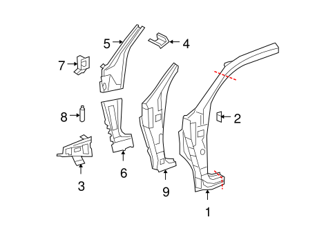 BODY/HINGE PILLAR for 2010 Toyota Tundra #1